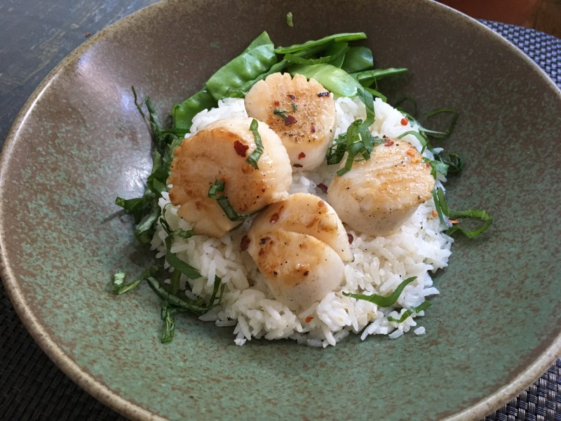 Seared Scallops with Coconut Rice and Snow Peas