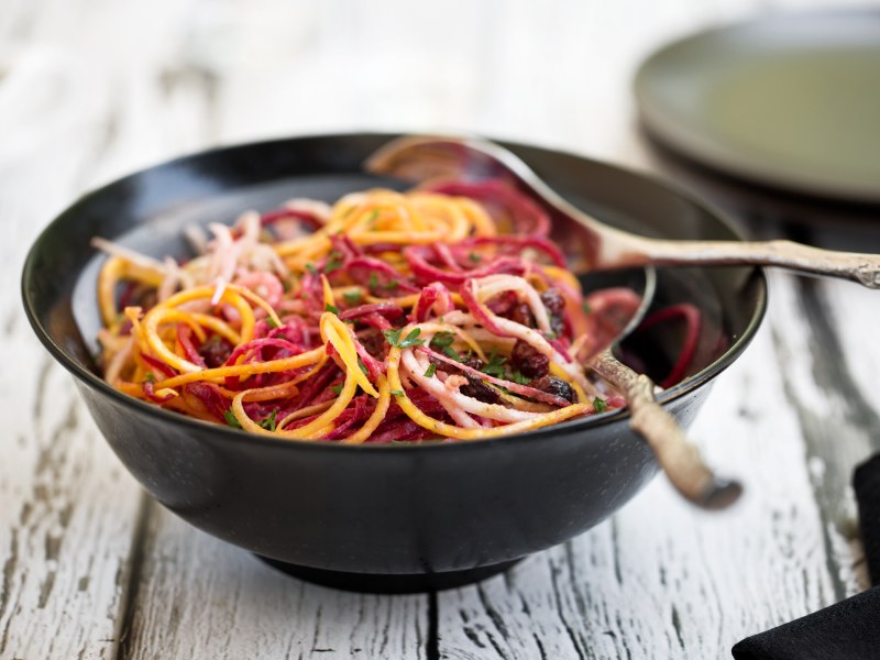 Spiralized Root Revelry Salad with Fennel-Herb Vinaigrette