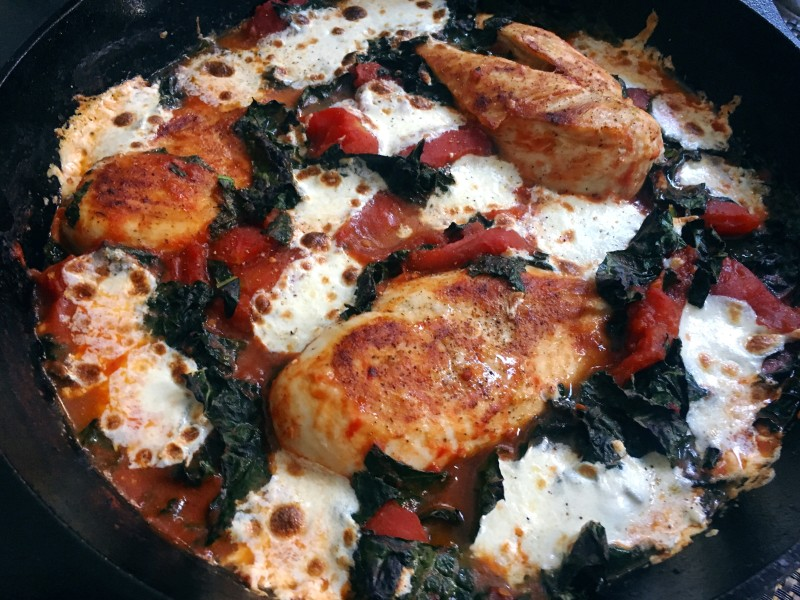One-Pan Chicken, Tomato, and Kale