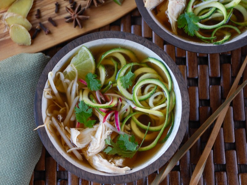 Chicken Pho with Spiralized Zoodles