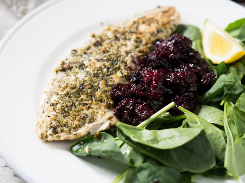 Pan-Fried Fish with Blackberry Relish