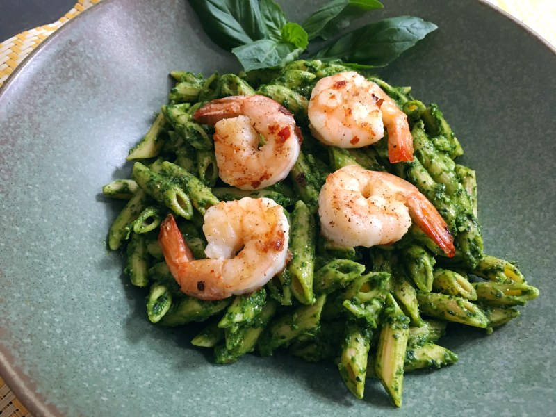 Kale Pesto with Farro Pasta and Shrimp