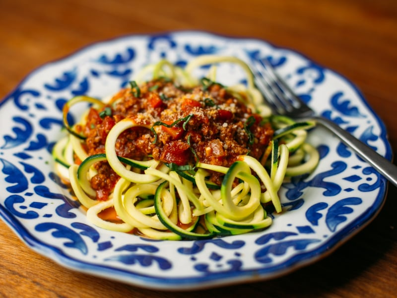 Spiralized Zoodles in Bolognese Sauce