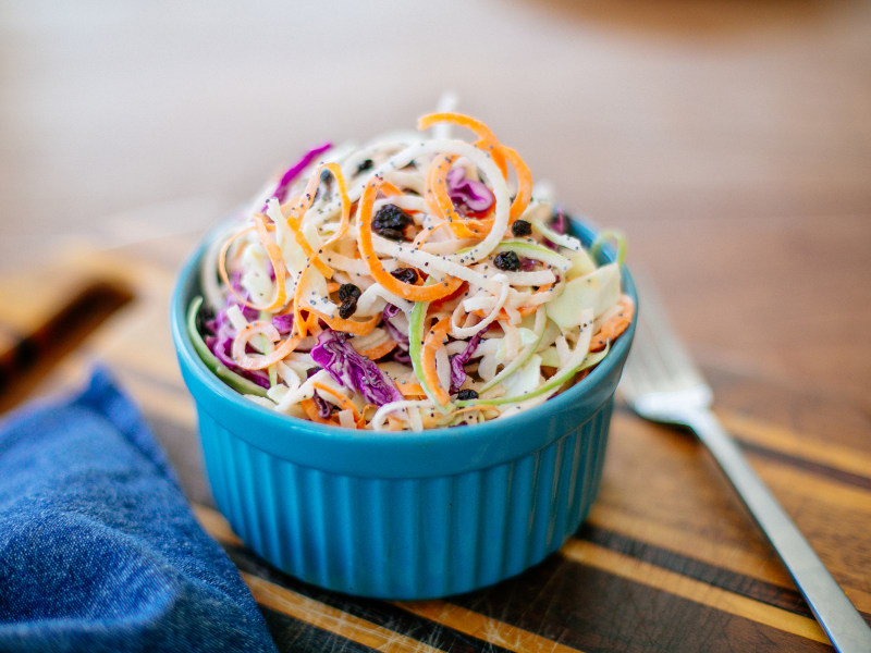 Spiralized Apple and Currant Slaw with Poppy Seeds
