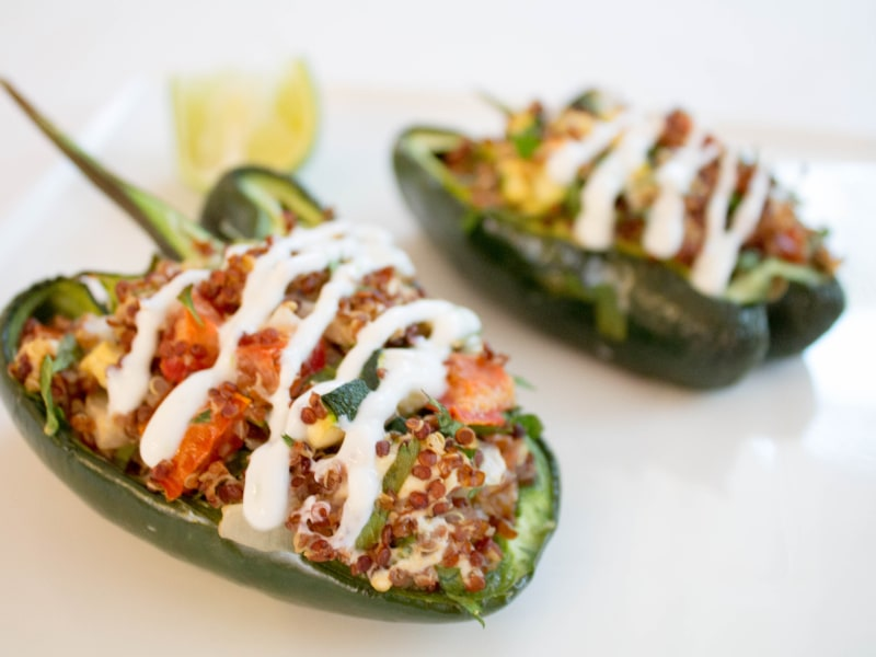 Quinoa-Stuffed Poblano Peppers