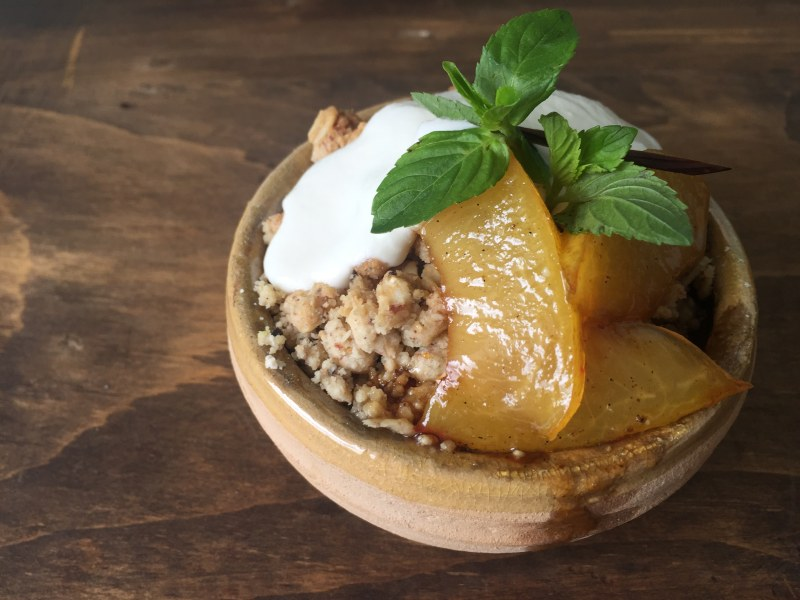 Clove-Oat Crumble with Sweet Plums and Ricotta Cheese