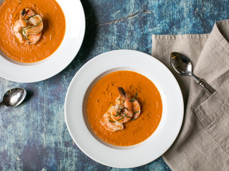 Roasted Heirloom Tomato Soup with Grilled Shrimp