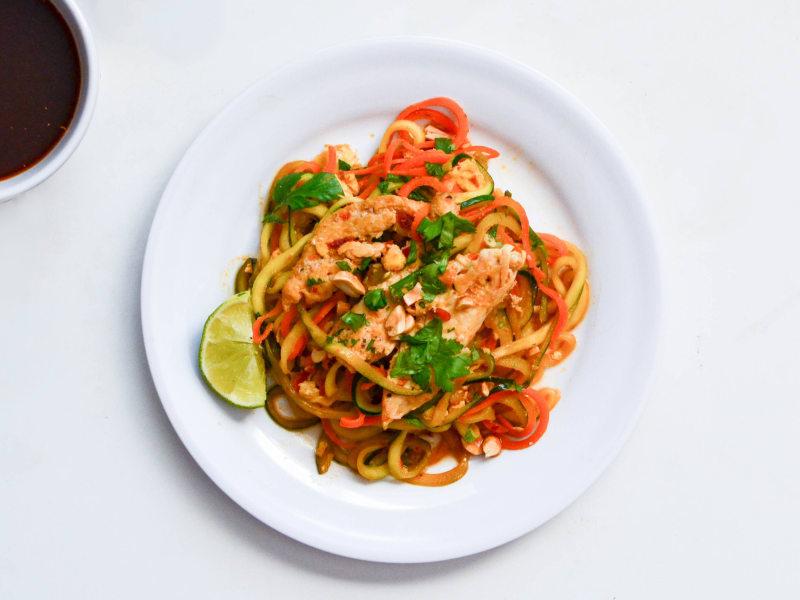 Spiralized Zucchini Pad Thai with Chicken