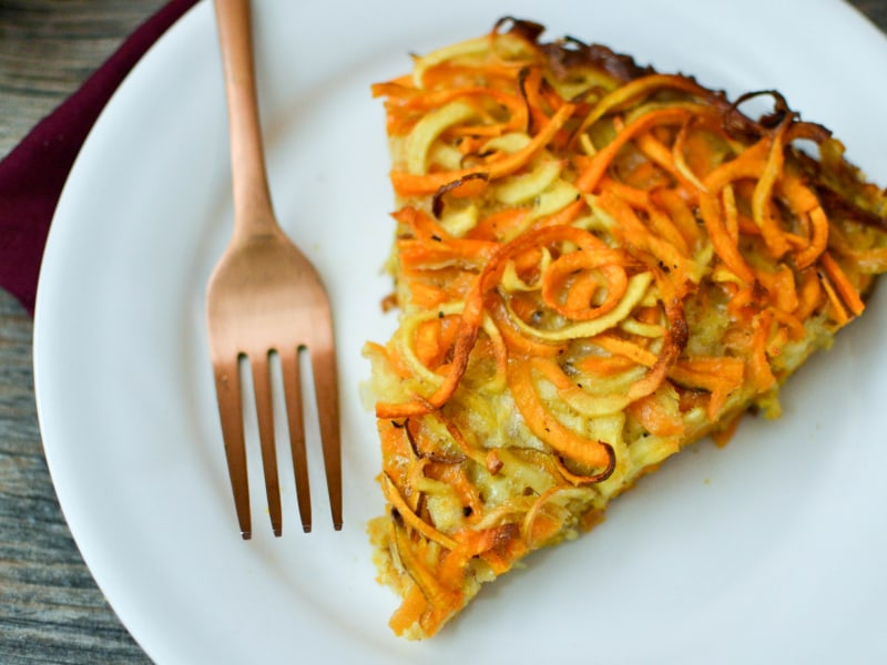 Spiralized Sweet Potato and Parsnip Kugel