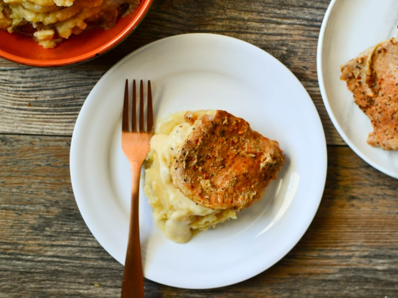 Slow Cooker Pork Chops with Onion Mashed Potatoes and Gravy