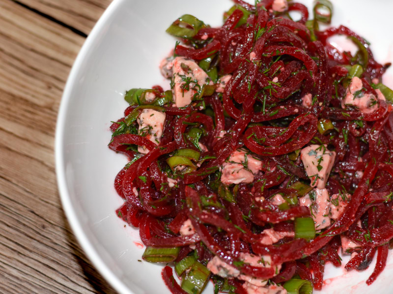 Spiralized Beet and Blue Cheese Salad