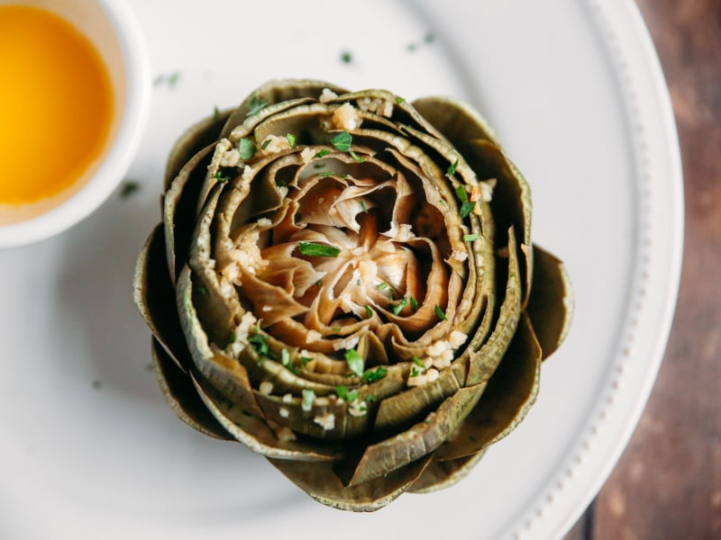 Pressure Cooker Steamed Garlic Artichokes