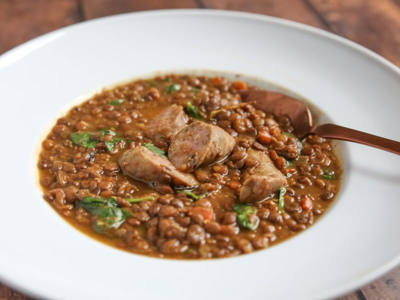 Pressure Cooker Italian Sausage and Lentil Stew