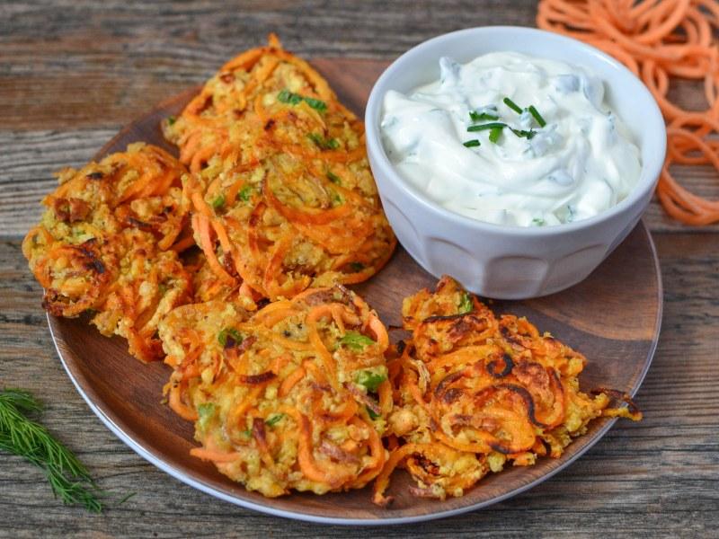 Sweet Potato Fritters with Creamy Herbed Yogurt Dip