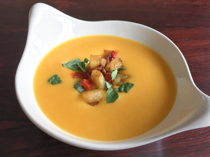 Butternut Squash Coconut Soup with Curry-Spiced Caramelized Pear