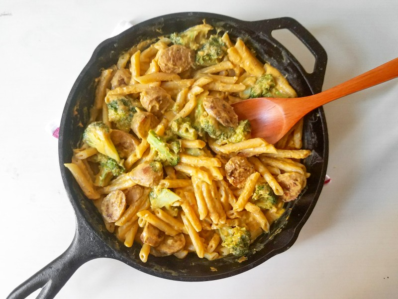 Skillet Penne with Chicken Sausage and Broccoli in a Pumpkin Cream Sauce