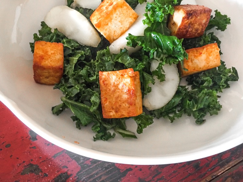 Asian Kale Salad with Sweet Pear and Red Crispy Tofu