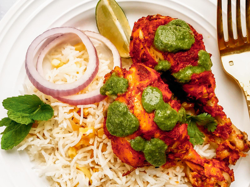 Pressure Cooker Tandoori Chicken with Cilantro Chutney