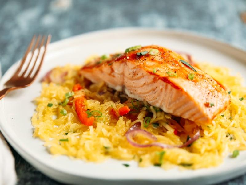 Barbeque Salmon with Spaghetti Squash Sauté