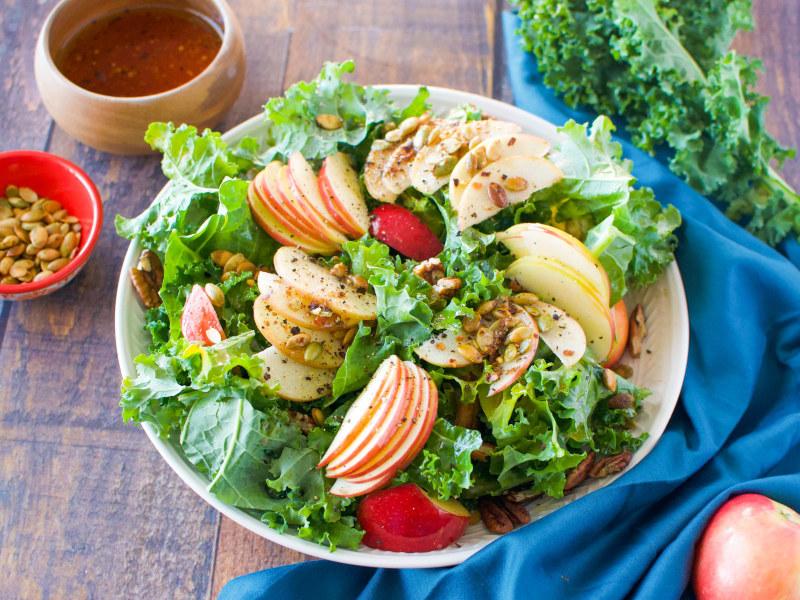 Harvest Apple and Kale Salad with Cinnamon-Shallot Vinaigrette
