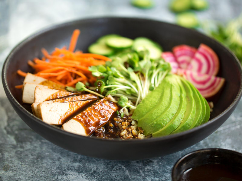Smoked Tofu and Vegetable Multigrain Bowls