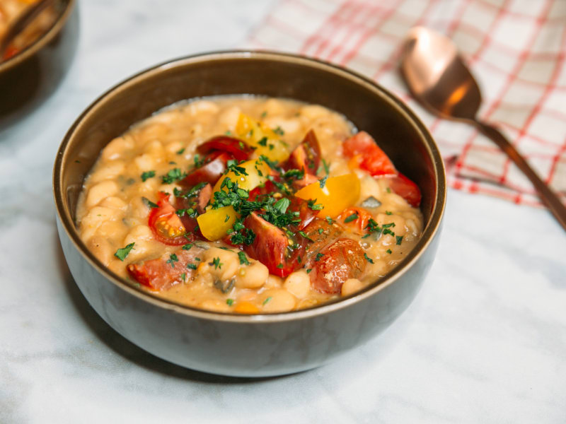 Pressure Cooker White Beans with Tomatoes and Sage