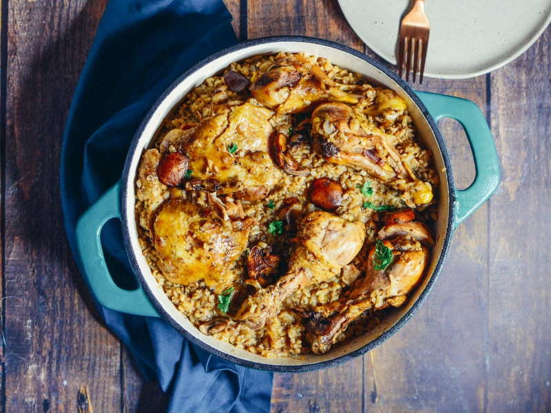 One Pot Chicken, Rice, and Mushroom Bake