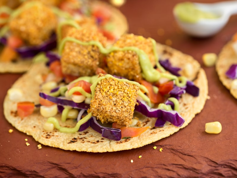 Cornmeal-Crusted Tofu Tacos