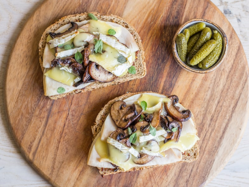 Open-Faced Turkey, Brie, and Mushroom Melt