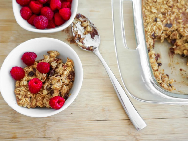 Baked Oatmeal with Chocolate Chips and Currants