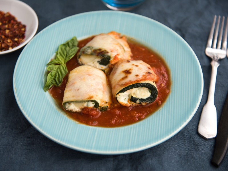 Zucchini Roll-Ups with Ricotta and Tomato Sauce