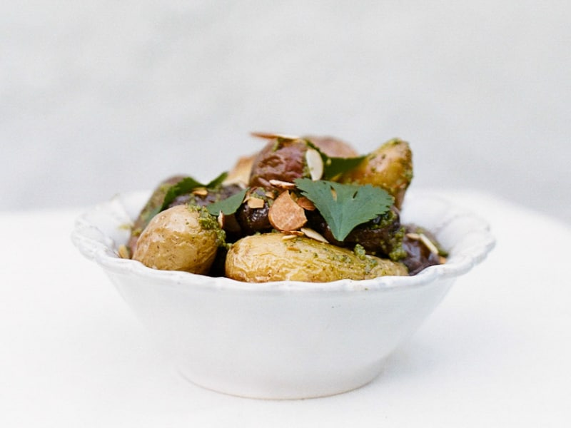 Roasted Potatoes with Almond-Cilantro Pesto