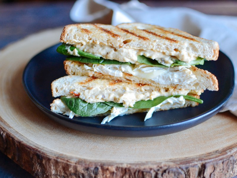 Grilled Chicken, Hummus, and Spinach Panini