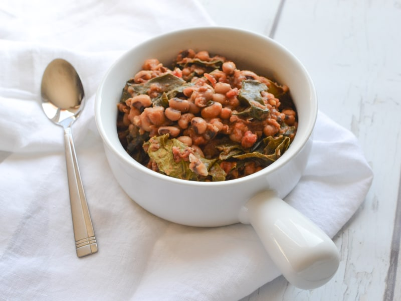 Pressure Cooker Black-Eyed Peas with Collard Greens