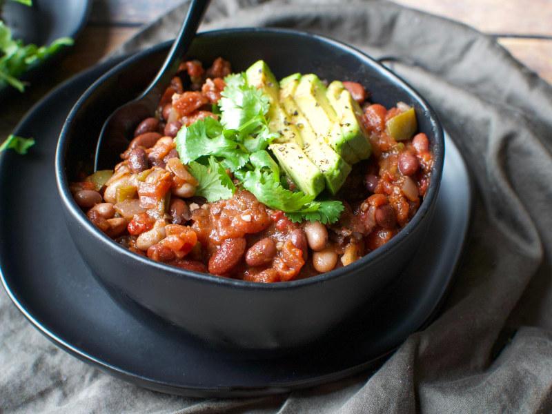 Pressure Cooker Three-Bean Vegan Chili