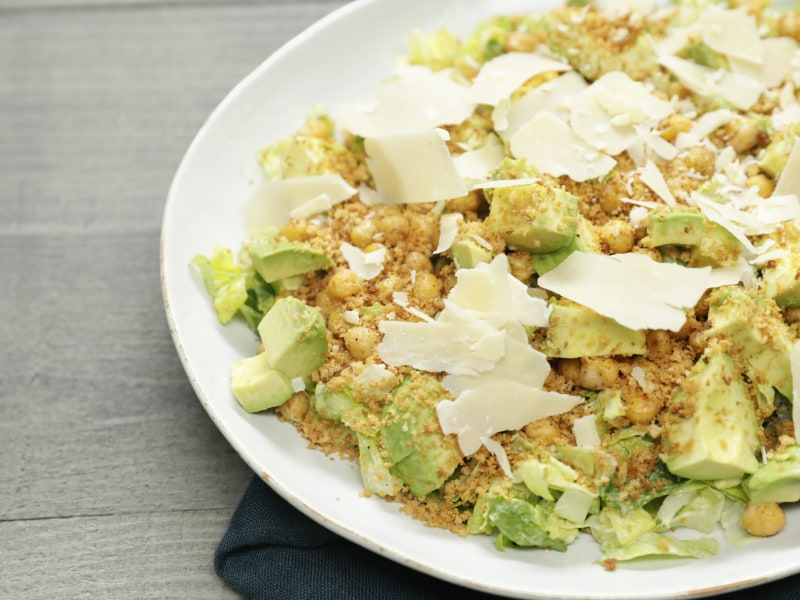 Caesar Salad with Avocado Dressing and Roasted Chickpeas