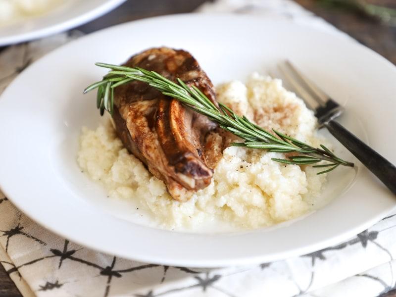 Pressure Cooker Lamb Chops and Creamy Cauliflower Mash