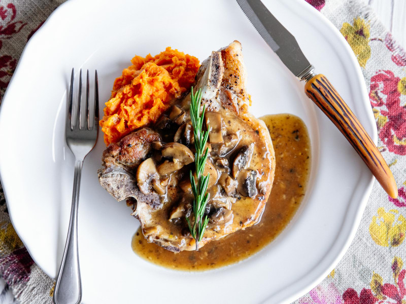 Pressure Cooker Pork Chops with Sweet Potato Purée and Mushroom Gravy