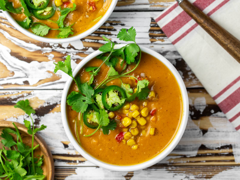 Pressure Cooker Southwest Sweet Potato and Corn Chowder