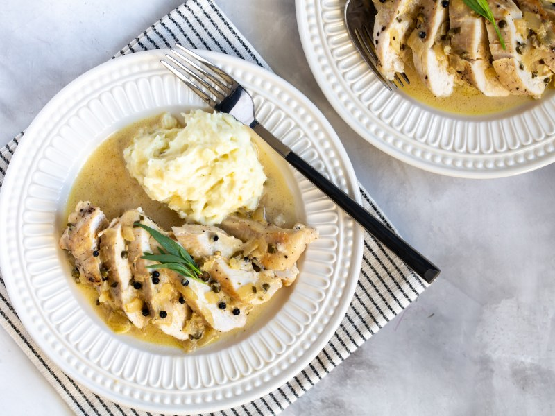 Pressure Cooker Green Peppercorn Chicken Breast and Mashed Potatoes
