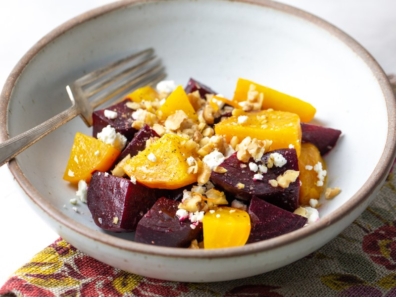 Pressure Cooker Warm Beet Salad with Walnuts and Goat Cheese