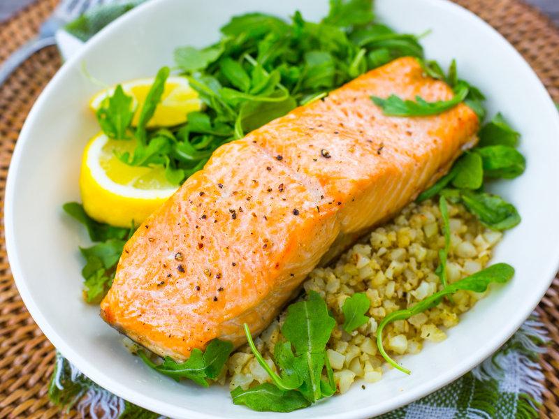 Air Fryer Salmon and Cauliflower Rice Bowls