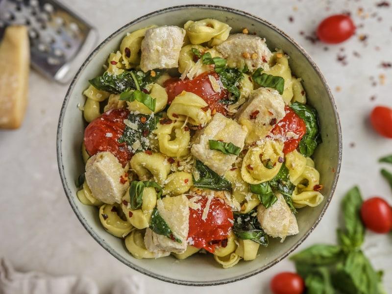 Pressure Cooker Parmesan Tomato Basil Chicken and Tortellini