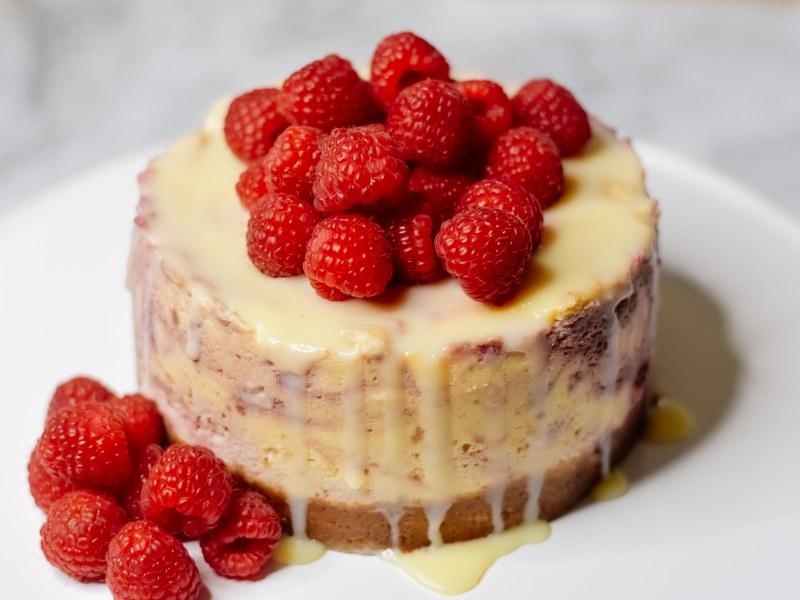 Pressure Cooker Raspberry White Chocolate Cheesecake