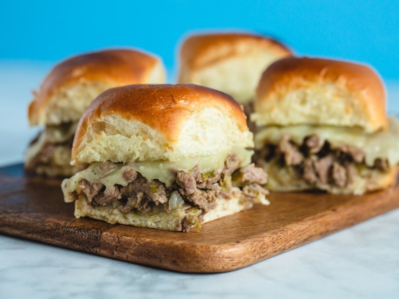 Pressure Cooker Cheese Steak Sliders with CrispLid