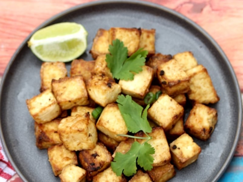 Air Fryer Crispy Lime and Garam Masala Tofu