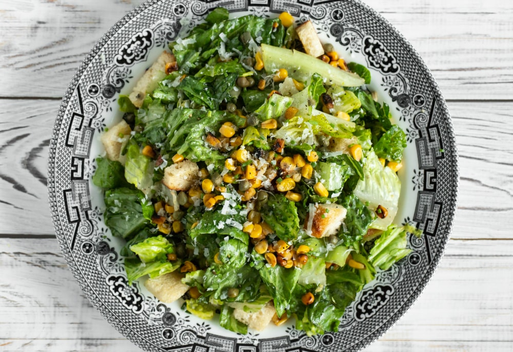 Grilled Corn Caesar Salad With Fried Capers Mealthy Com