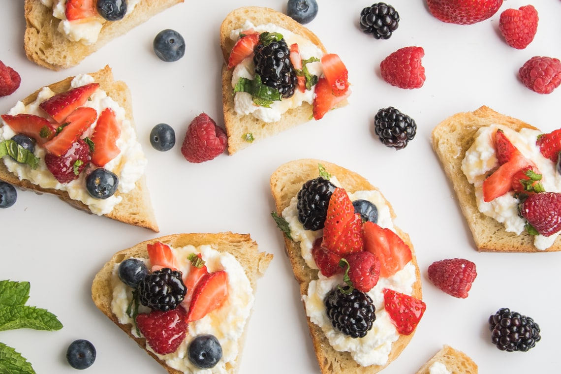 Ricotta Cheese and Mixed Berries on Toast