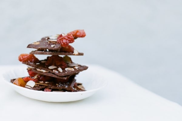 Chocolate Bark with Dried Fruit, Nuts, and Sea Salt
