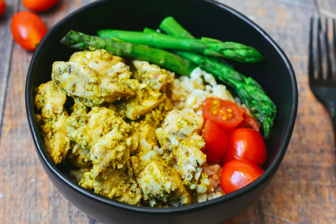 Chicken Pesto Buddha Bowls with Asparagus and Brown Rice